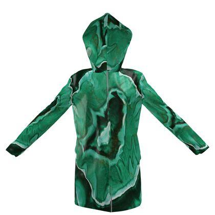 malachite hooded rain mac