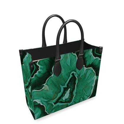 malachite stone leather shopper bag