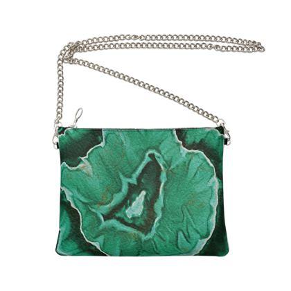 malachite stone bag with chain