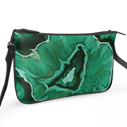 malachite stone pochette double zip bag