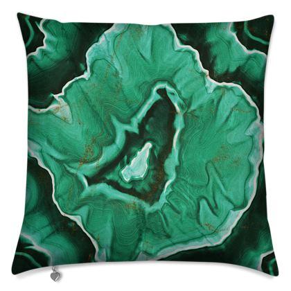 malachite stone cushion