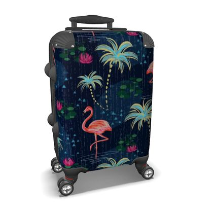 Pink flamingo - Suitcase - tropical rain, palms, dark blue, navy, exotic, Bohemian, whimsical, resort, beach, bright, jungle, travel - design by Tiana Lofd