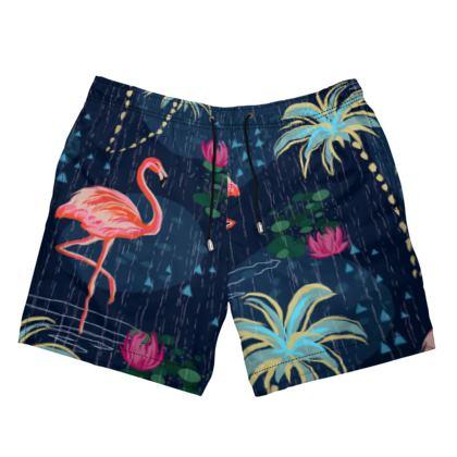 Pink flamingo - Mens Swimming Shorts - tropical rain, palms, dark blue, navy, exotic, Bohemian, whimsical, resort, beach, bright, jungle, travel - design by Tiana Lofd