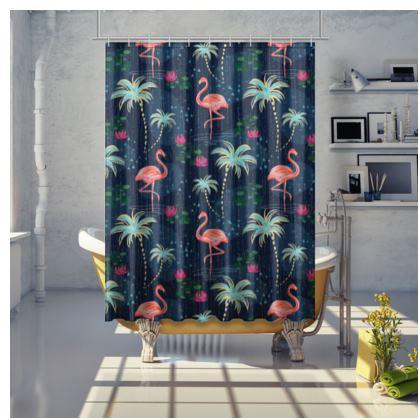 Pink flamingo - Shower Curtain - tropical rain, palms, dark blue, navy, exotic, Bohemian, whimsical, resort, beach, bright, jungle, travel - design by Tiana Lofd