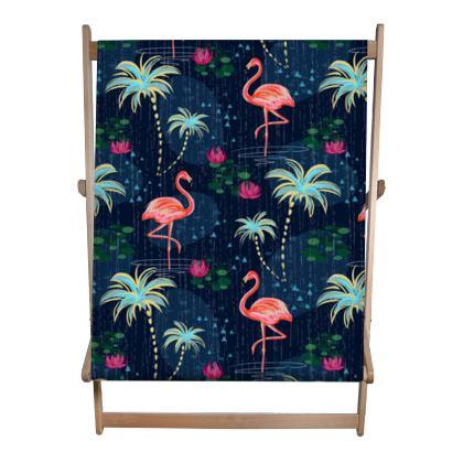 Pink flamingo - Double Deckchair - tropical rain, palms, dark blue, navy, exotic, Bohemian, whimsical, resort, beach, bright, jungle, travel - design by Tiana Lofd