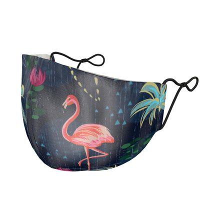 Pink flamingo - Silk Face Masks - tropical rain, palms, dark blue, navy, exotic, Bohemian, whimsical, resort, beach, bright, jungle, travel - design by Tiana Lofd