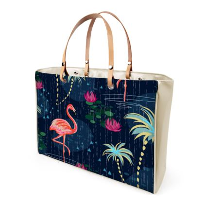 Pink flamingo - Handbags - tropical rain, palms, dark blue, navy, exotic, Bohemian, whimsical, resort, beach, bright, jungle, travel - design by Tiana Lofd