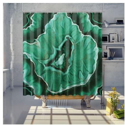 malachite stone shower curtain
