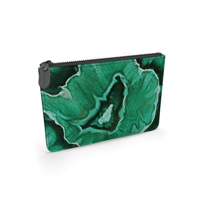 malachite stone leather pouch