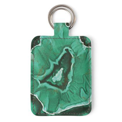 malachite stone leather keyring