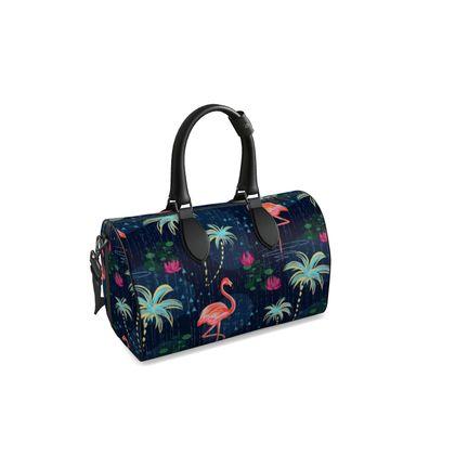 Pink flamingo - Duffle bag - tropical rain, palms, dark blue, navy, exotic, Bohemian, whimsical, resort, beach, bright, jungle, travel - design by Tiana Lofd
