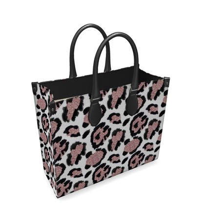glitter leopard print leather shopper bag