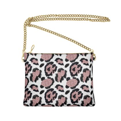 glitter leopard print bag with chain