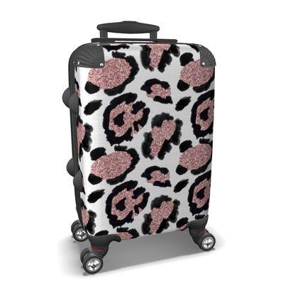 glitter leopard print suitcase