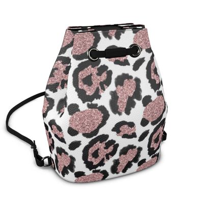 glitter leopard print bucket backpack