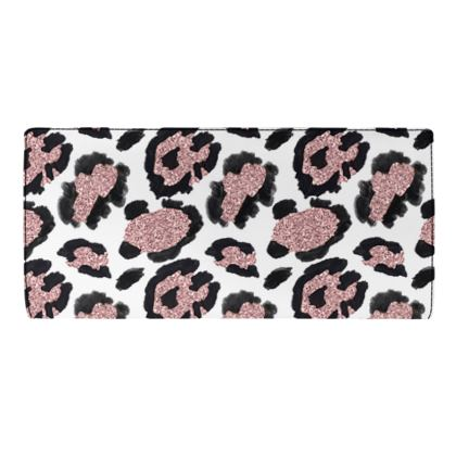 glitter leopard print travel wallet