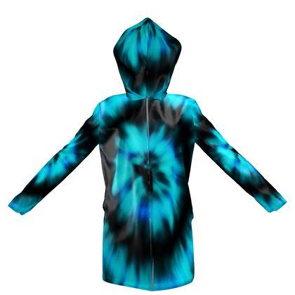 blue black tie dye painting hooded rain mac