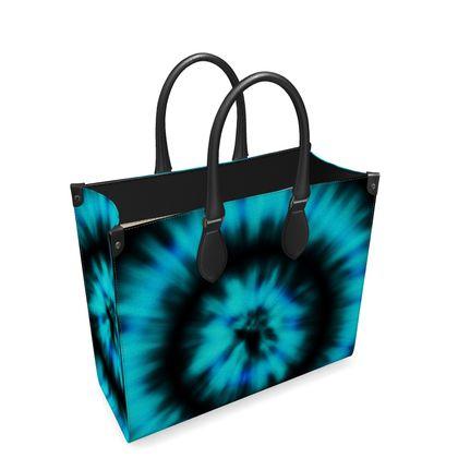 blue black tie dye painting leather shopper bag