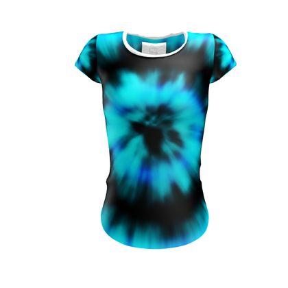 blue black tie dye painting ladies t shirt