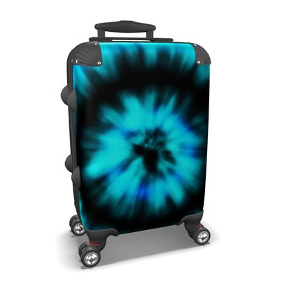 blue black tie dye painting suitcase