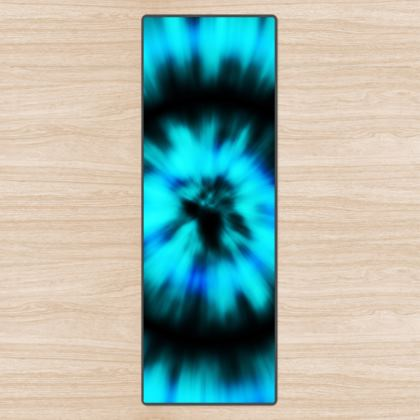 blue black tie dye painting yoga mat