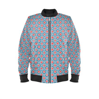 Mens Bomber Jacket - Japanese summer - Geometric shapes, abstract, blue and red, circles, elegant vintage, trendy, sophisticated stylish gift, modern, sports, spectacular retro - design by Tiana Lofd