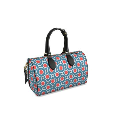 Duffle bag - Japanese summer - Geometric shapes, abstract, blue and red, circles, elegant vintage, trendy, sophisticated stylish gift, modern, sports, spectacular retro - design by Tiana Lofd