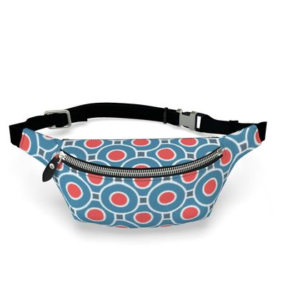 Fanny Pack - Japanese summer - Geometric shapes, abstract, blue and red, circles, elegant vintage, trendy, sophisticated stylish gift, modern, sports, spectacular retro - design by Tiana Lofd