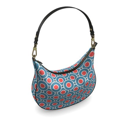 Curve Hobo Bag - Japanese summer - Geometric shapes, abstract, blue and red, circles, elegant vintage, trendy, sophisticated stylish gift, modern, sports, spectacular retro - design by Tiana Lofd