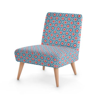 Occasional Chair - Japanese summer - Geometric shapes, abstract, blue and red, circles, elegant vintage, trendy, sophisticated stylish gift, modern, sports, spectacular retro - design by Tiana Lofd
