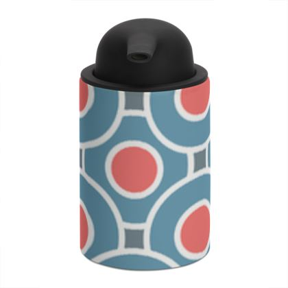 Japanese summer - Soap Dispenser - Geometric shapes, abstract, blue and red, circles, elegant vintage, trendy, sophisticated stylish gift, modern, sports, spectacular retro - design by Tiana Lofd