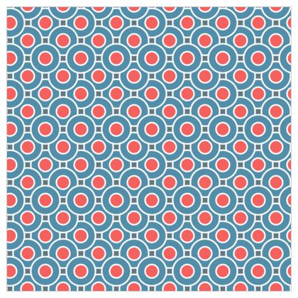 Japanese summer - Fabric Printing - Geometric shapes, abstract, blue and red, circles, elegant vintage, trendy, sophisticated stylish gift, modern, sports, spectacular retro - design by Tiana Lofd