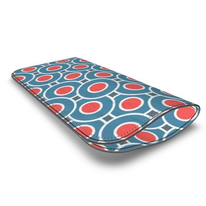 Japanese summer - Leather Glasses Case - Geometric shapes, abstract, blue and red, circles, elegant vintage, trendy, sophisticated stylish gift, modern, sports, spectacular retro - design by Tiana Lofd