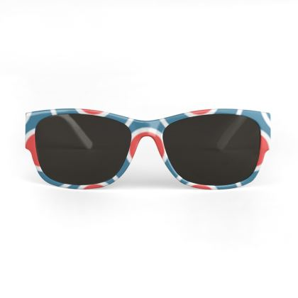 Sunglasses - Japanese summer - Geometric shapes, abstract, blue and red, circles, elegant vintage, trendy, sophisticated stylish gift, modern, sports, spectacular retro - design by Tiana Lofd