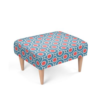 Footstool - Japanese summer - Geometric shapes, abstract, blue and red, circles, elegant vintage, trendy, sophisticated stylish gift, modern, sports, spectacular retro - design by Tiana Lofd