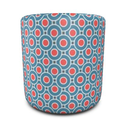 Japanese summer - Round Pouffe - Geometric shapes, abstract, blue and red, circles, elegant vintage, trendy, sophisticated stylish gift, modern, sports, spectacular retro - design by Tiana Lofd