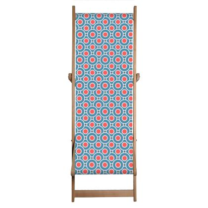 Japanese summer - Deckchair - Geometric shapes, abstract, blue and red, circles, elegant vintage, trendy, sophisticated stylish gift, modern, sports, spectacular retro - design by Tiana Lofd