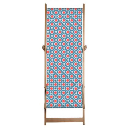 Japanese summer - Deckchair Sling - Geometric shapes, abstract, blue and red, circles, elegant vintage, trendy, sophisticated stylish gift, modern, sports, spectacular retro - design by Tiana Lofd