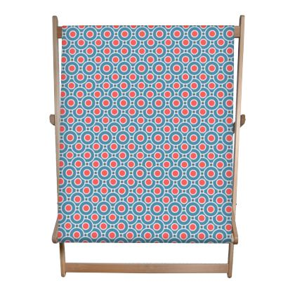 Japanese summer - Double Deckchair - Geometric shapes, abstract, blue and red, circles, elegant vintage, trendy, sophisticated stylish gift, modern, sports, spectacular retro - design by Tiana Lofd