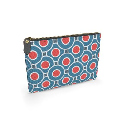 Japanese summer - Leather pouch - Geometric shapes, abstract, blue and red, circles, elegant vintage, trendy, sophisticated stylish gift, modern, sports, spectacular retro - design by Tiana Lofd