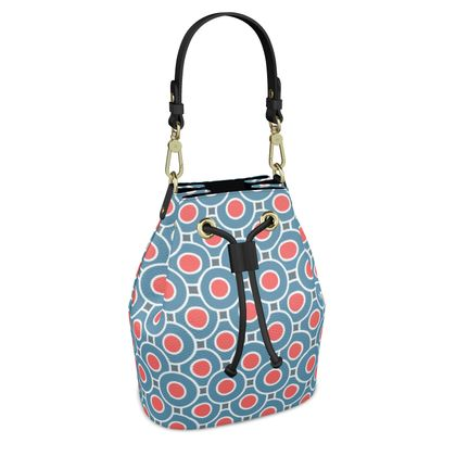 Japanese summer - Bucket Bag - Geometric shapes, abstract, blue and red, circles, elegant vintage, trendy, sophisticated stylish gift, modern, sports, spectacular retro - design by Tiana Lofd