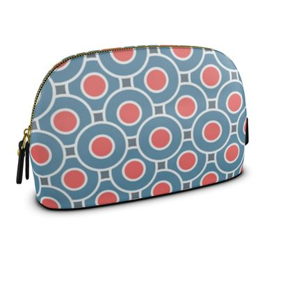 Japanese summer - Premium Nappa Make Up Bag - Geometric shapes, abstract, blue and red, circles, elegant vintage, trendy, sophisticated stylish gift, modern, sports, spectacular retro - design by Tiana Lofd