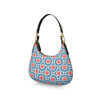 Japanese summer - Mini Curve Bag - Geometric shapes, abstract, blue and red, circles, elegant vintage, trendy, sophisticated stylish gift, modern, sports, spectacular retro - design by Tiana Lofd