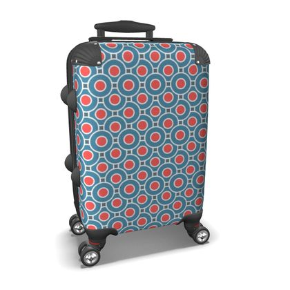 Suitcase - Japanese summer - Geometric shapes, abstract, blue and red, circles, elegant vintage, trendy, sophisticated stylish gift, modern, sports, spectacular retro - design by Tiana Lofd