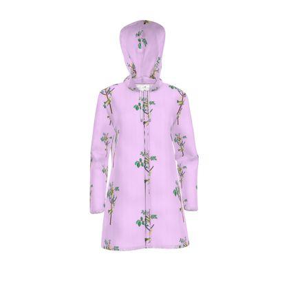 Women's Hooded Rain Mac - Emmeline Anne Birds On a Branch Lilac