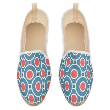 Japanese summer - Loafer Espadrilles - Geometric shapes, abstract, blue and red, circles, elegant vintage, trendy, sophisticated stylish gift, modern, sports, spectacular retro - design by Tiana Lofd