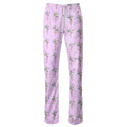 Women's Trousers - Emmeline Anne Birds On a Branch Lilac