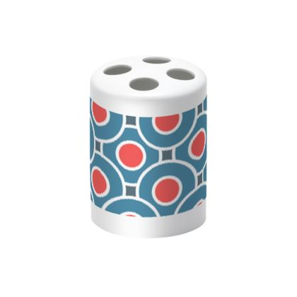 Japanese summer - Toothbrush Holder - Geometric shapes, abstract, blue and red, circles, elegant vintage, trendy, sophisticated stylish gift, modern, sports, spectacular retro - design by Tiana Lofd