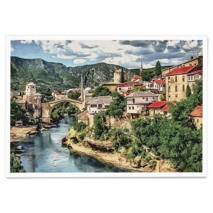 Mostar Old Bridge UNESCO site - Paper Poster