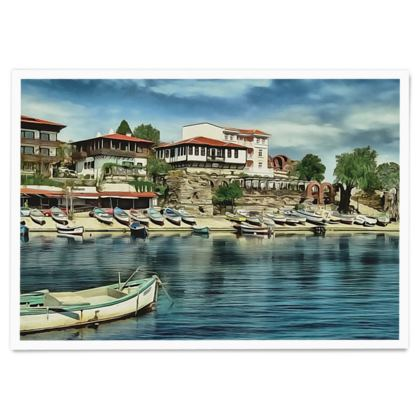 Coastal Houses Old Nessebar UNESCO site - Paper Poster
